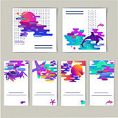 Abstract gradient combination rounded curves, modern acids, fluorescent colors
