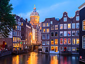St Nicholas Church and Canal Houses in Amsterdam Canal Netherlands