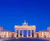 The Brandenburg Gate in Berlin, Germany at Twilight.
