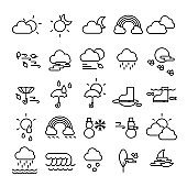 set of editable stroke weather icons, weather forecast