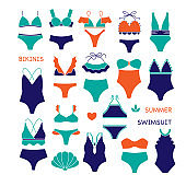 swimsuit icon sett, set of bikinis, underwear, summer clothes, textile business,women fashion