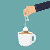 Hot tea cup flat design vector illustration
