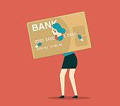 Businesswoman burden with credit card