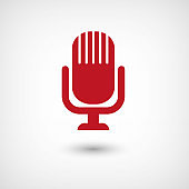 Microphone - red vector  icon with shadow