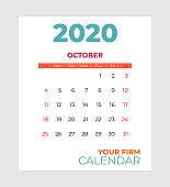 2020 october calendar vector template. Abstract empty isolated set 2020 calendar. Screen desktop months 2020 agenda