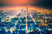 Aerial panoramic view of kaohsiung city skyline at night. Taiwan