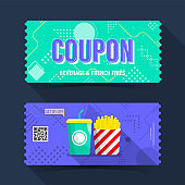 Coupon popcorn beverage and french fries ticket card. Element template for graphics design. Vector illustration
