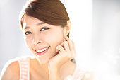 closup young woman with skin care concepts