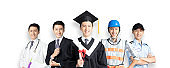 people in different occupations standing with graduation