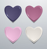 Coloured paper hearts set. Collection of hearts