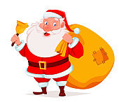 Santa Claus holding bell and sack with presents