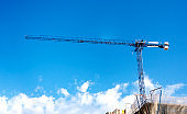 a crane lifting weights on a construction site with a blue sky and clouds on the background