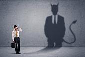 Afraid Business man concept