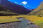 River in Cordillera Blanca with Chacraraju (6108m) - Ancash Andes, Peru
