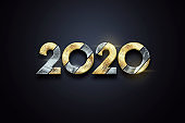 Creative design, Happy New Year, Metallic and gold numbers 2020 Design on a dark background. Merry Christmas