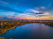 Beautiful Drone Sunset over Sloan's Lake in Denver, Colorado