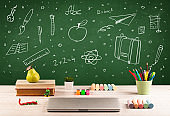 Back to school chalkboard and color pencils