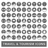 Tourism, travel and outdoor icons. Vector