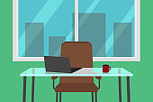 Office interior with glass desk. Vector illustration