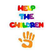 HELP THE CHILDREN inscription and handprint. Vector illustration