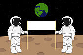 Two astronauts holding banner with copy space. Moon landing. Vector illustration