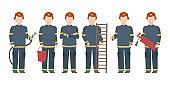 Firefighter standing in diverse poses. Vector