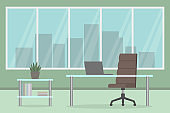 Office interior. Desk, chair and laptop. Green wall. Vector illustration