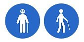 Blind person with walking cane. Vector icon