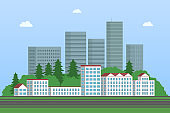 Skyscrapers, forest and apartment buildings. Cityscape. Vector illustration