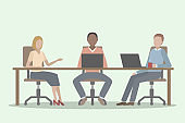 Three office employees working together at common table. Vector illustration.
