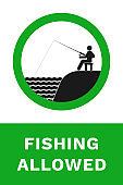 FISHING ALLOWED sign. Vector