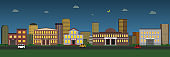 Panoramic view of night city. Cartoon cityscape. Vector illustration