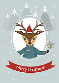 Merry Christmas card with deer in sweater on the background of mountains and snow.