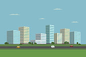 Residential buildings and road. City landscape. Vector illustration