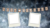 Just married text and 2 picture frames
