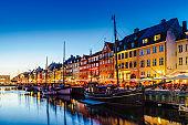 Nyhavn harbor in Night, Copenhagen
