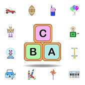 cartoon infants blocks alphabet toy colored icon. set of children toys illustration icons. signs, symbols can be used for web, logo, mobile app, UI, UX