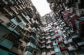 Old community, Dense residential building and view colorful apartment building at Hong Kong City