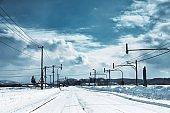 Frozen road, Hokaido, Japan.