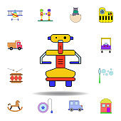 cartoon robot toy colored icon. set of children toys illustration icons. signs, symbols can be used for web, logo, mobile app, UI, UX