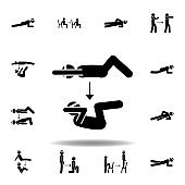 fitness, knee, sit ups icon. Element of fitness illustration. Signs and symbols icon can be used for web, logo, mobile app, UI, UX on white background