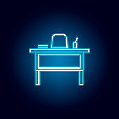 teacher desk, chair outline icon in neon style. elements of education illustration line icon. signs, symbols can be used for web, logo, mobile app, UI, UX