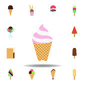 ice cream lilly colored icon. Element of ice cream illustration icon. Signs and symbols can be used for web, logo, mobile app, UI, UX on white background