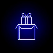 gift parcel line icon in blue neon style. Set of logistics illustration icons. Signs, symbols can be used for web, logo, mobile app, UI, UX