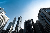 Directly below of modern financial skyscrapers in central Hong Kong