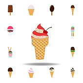 ice cream strawberry colored icon. Element of ice cream illustration icon. Signs and symbols can be used for web, logo, mobile app, UI, UX on white background