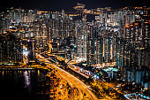 Apartment,Hong Kong,Night,Aerial View,Architecture,Building Exterior,Built Structure,Business,Business Finance and Industry,China - East Asia,City,City Life,Cityscape,Construction Industry,Crowded,Dark,Directly Above,District,Downtown District,Dusk,Electr