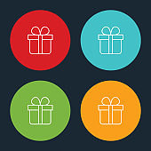Very Useful Gift Box Line Icon On Four Color Round Options.