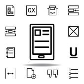 tablet, text icon. Can be used for web, logo, mobile app, UI, UX