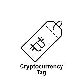 bitcoin tag outline icon. Element of bitcoin illustration icons. Signs and symbols can be used for web, logo, mobile app, UI, UX